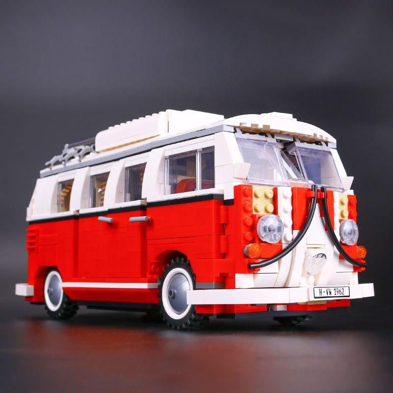 Créateur volkswagen T1 camping-car blocs de construction briques techniques figurine action voiture jouets pour enfants Compatible