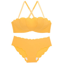 Wasteheart New Women Fashion Yellow Pink Sexy Lingerie Sets Wireless Cotton Panties Padded Push Up Bra Underwear One-Piece