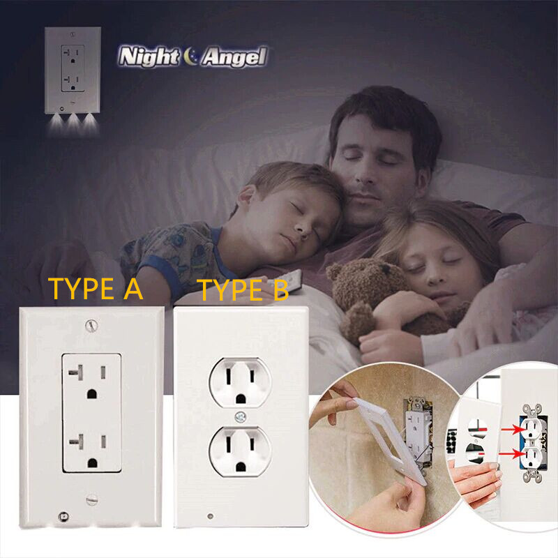 Plug Cover LED Night Light PIR Body Motion Sensor Activated Safety Light Angel Wall Outlet Hallway Bedroom Bathroom Night Lamp