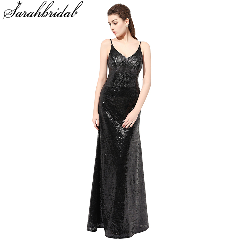 New Arrived Backs Sequined Long   Evening     Dresses   Real Pictures V Neck Backless Mermaid Party Gown Robe De Soiree SLD408