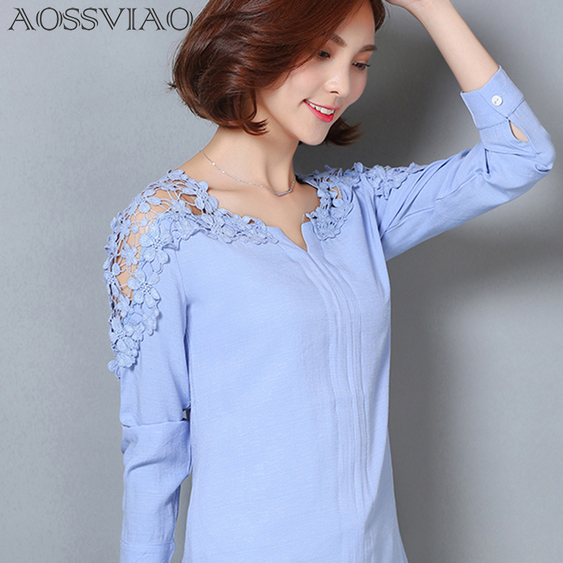 2017 Patchwork Blusas White Blouse Plus Size Clothing Blouses Women Tops Long Sleeved Shirt Fashion Hollow