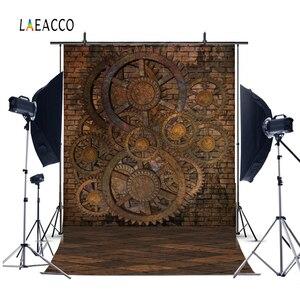 Image 3 - Pared de ladrillo viejo piso de madera Steampunk casa oxidado engranajes fotografía fondos Vintage Grunge retrato fotofono