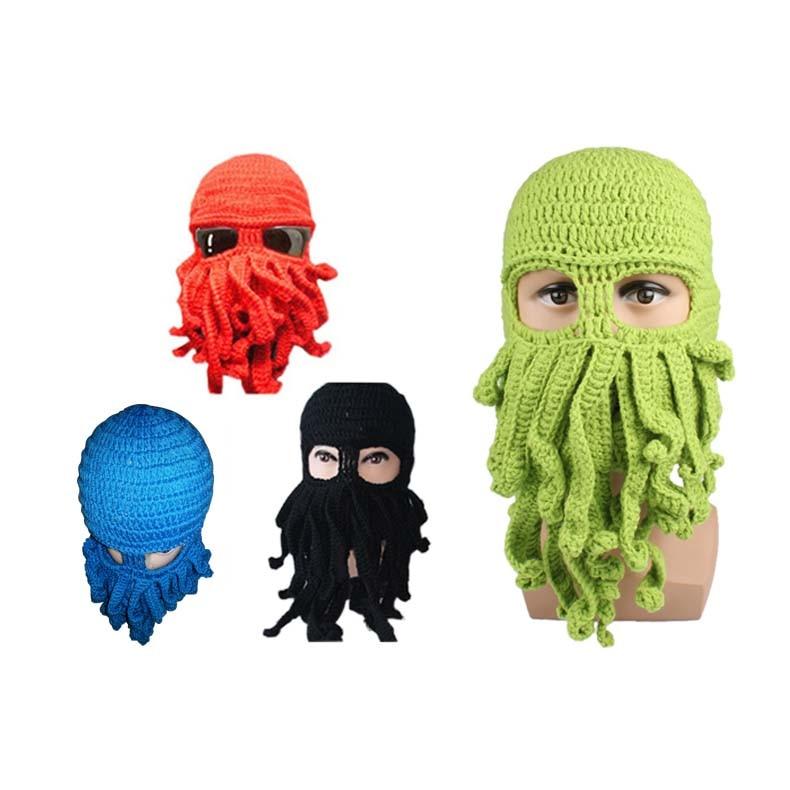 Gorros con patrón de pulpo invierno cálido tejido de lana máscara ...