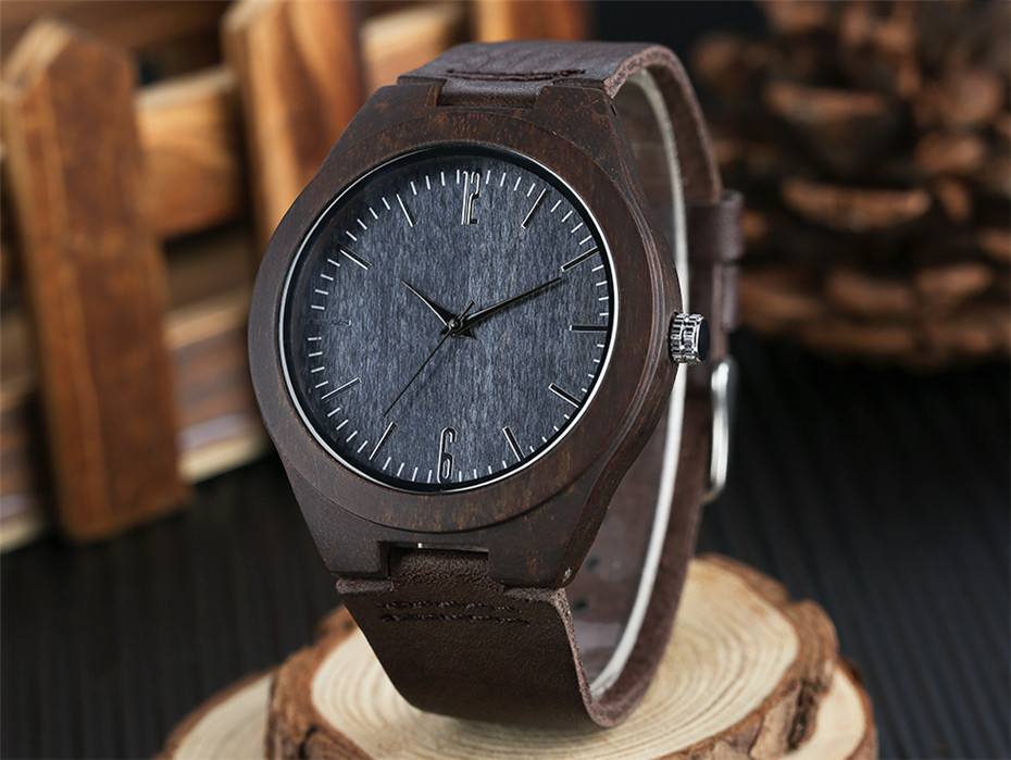 coffee color wood watch casual men13