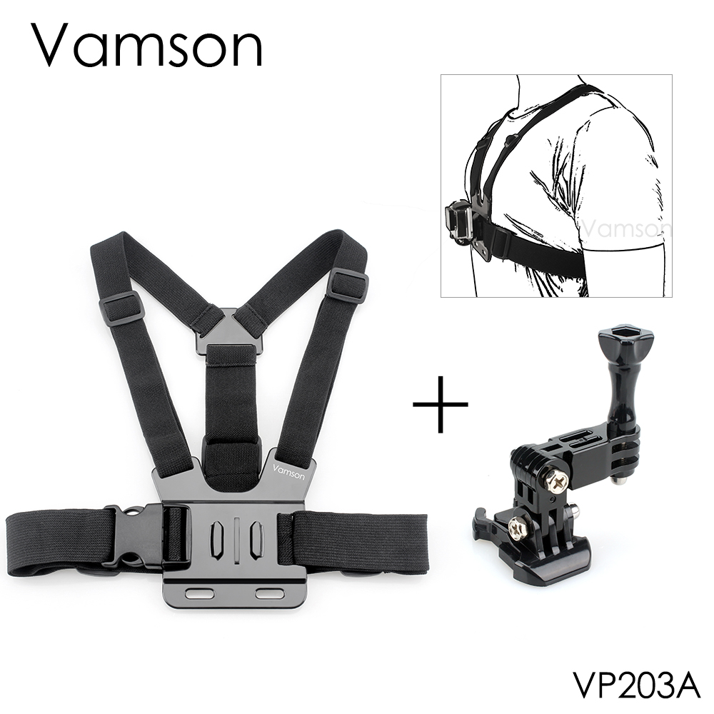 Vamson For GoPro Accessories Chest Body Harness Belt Strap Mount Adjustable For Gopro Hero 5 4 7 6  For SJCAM For Xiaomi VP203A