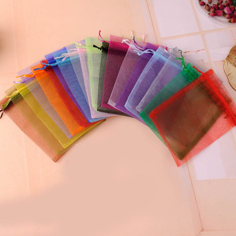 20Pcs/lot 7*9cm Multicolor Organza Jewelry Necklace Pouch Wedding Party Cookie Candy Packaging Supplies Christmas Gift Bags