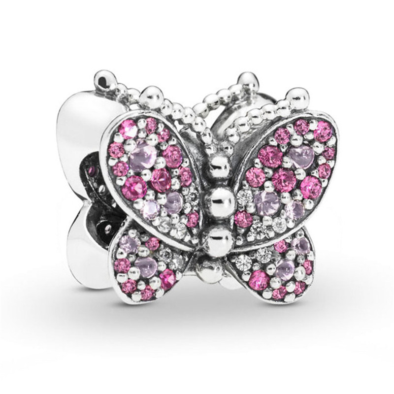 2019 Spring New 925 Sterling Silver Clover Butterfly Charm Bead Fit Original Pandora Bracelet Bangle for Women DIY Jewelry Gift in Beads from Jewelry Accessories