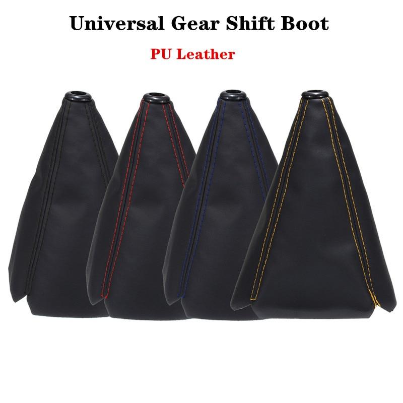 16mm Universal PU Leather Car Gear Shift Collars Carbon Fiber Auto Car Manual Stick Shifter Knob Gear Shift Boot Cover Gaiter