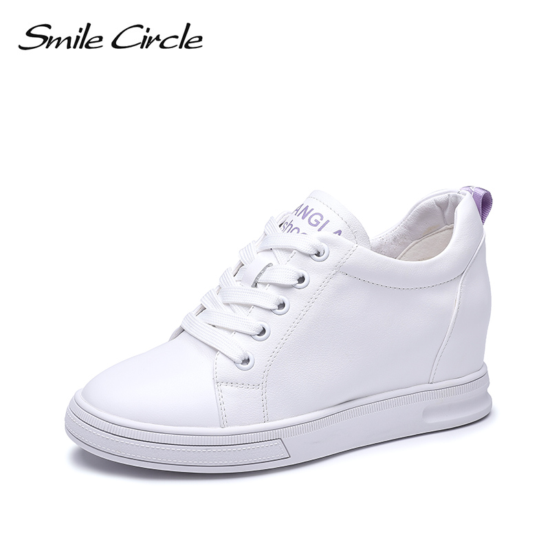 Smile Circle Wedges Sneakers Women Genuine Leather Casual Shoes Women Lace Up Fashion Increase within 3CM