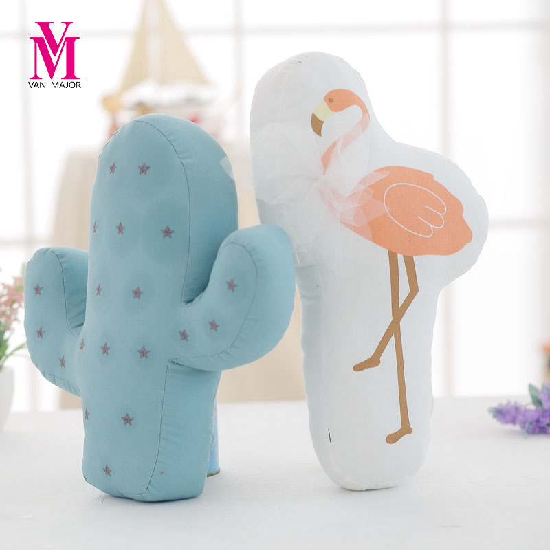 Vanmajor New Plush Cactus And Flamingo Shape Toys Soft Stuffed Cushion Sofa Pillow Baby Kids Gift Toys Home Decor decor and gift