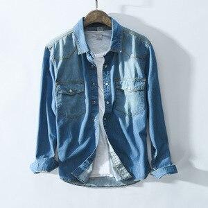 Image 3 - Рубашка мужская джинсовая в стиле сафари, приталенная синяя блуза из денима с карманами, модель 360 в ретро стиле