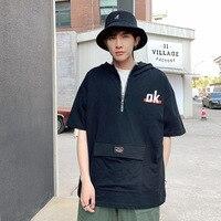 QZHIHE Men's Summer Short Sleeve Sweater Street Boy Solid Color Hooded T shirt Print Letter Pocket Plus Size T Shirt 1911161
