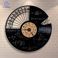 CD Record Wall Clock Math Theme Modern Design Home Decor Art Quartz Clocks For Living Room Bedroom Wall Watches