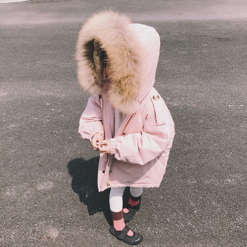2017 new girls  and boys waist big hair collar children down jacket baby long thickening coat new 2017 winter baby thickening collar warm jacket children s down jacket boys and girls short thick jacket for cold 30 degree