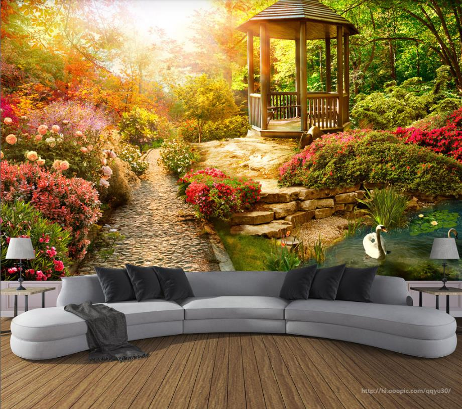 wall background sunny decor garden 3d living landscape tv papers custom mural walls wallpapers improvement