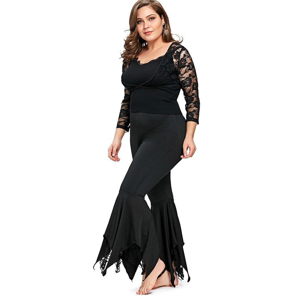 03f7bde9984d6 2018 Spring Women Pants Casual Black Plus Size Handkerchief Flare Pants Big  Size Women Clothing Ladies Trousers XL-5XL