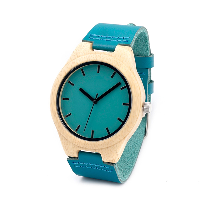 BOBO BIRD Handmade Men Bamboo Watch With Blue Genuine Cowhide Leather Strap Casual Watches as Gifts
