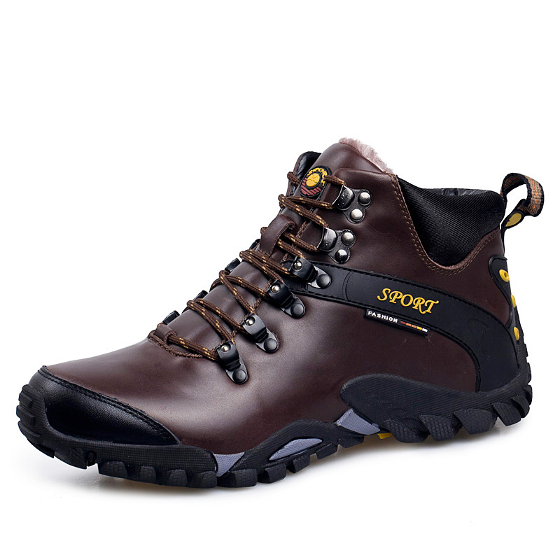 2018 New Men Warm Winter Leather Hiking Boots Waterproof Men Moutain Boots Shoes Climbing Outdoor Male High Top Trekking Shoes
