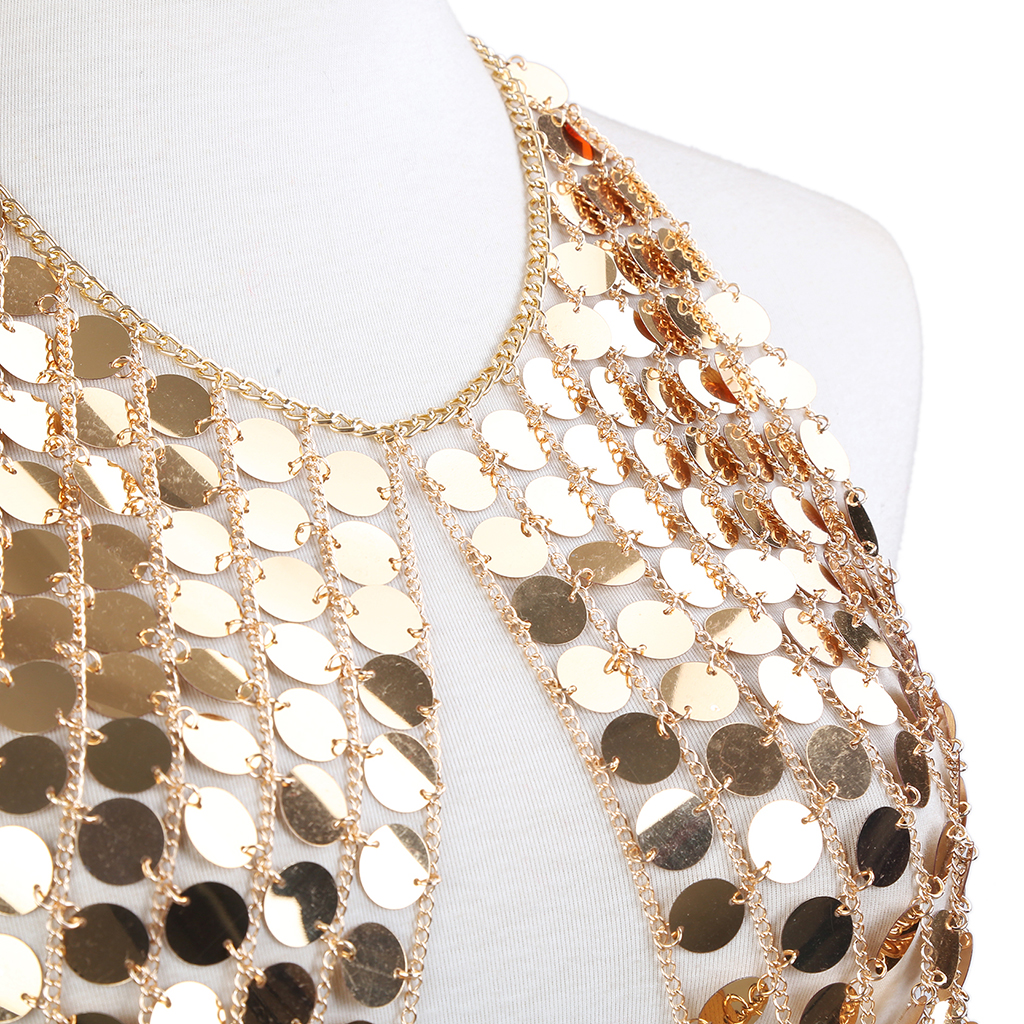 73c251e01c350 Womens Sequins Alloy Chain Crop Tops Summer Sexy Plain Sparkly Halter  Nightclub Party Vest Gold-in Body Jewelry from Jewelry   Accessories on  Aliexpress.com ...