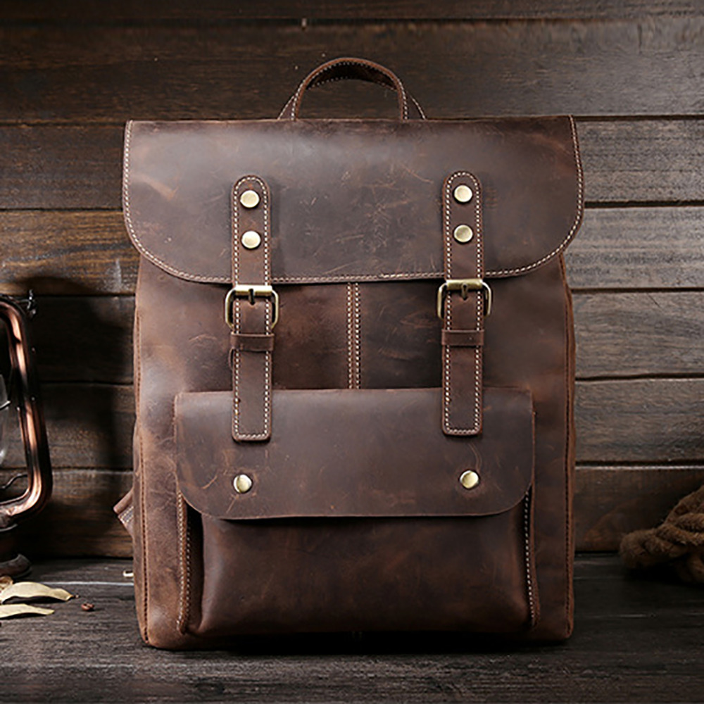 Crazy Horse Cowhide Men Backpack Genuine Leather Vintage Daypack Travel Casual School Book Bags Brand Male Laptop Bags Rucksack statue