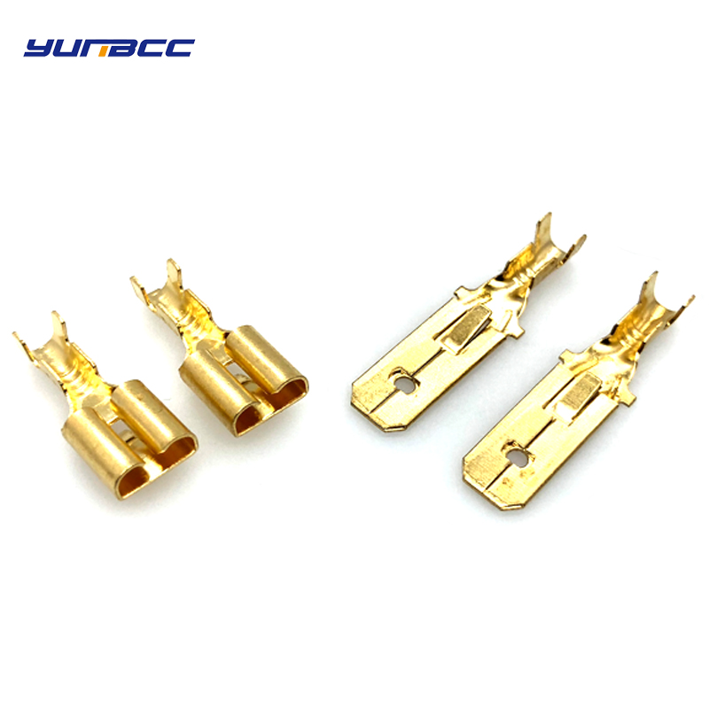 50pcs 6.3mm Female or Male Spade Crimp Terminal Brass wire Connector DJ 623-E6.3A/B/C
