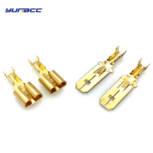 50pcs 6.3mm Female or Male Spade Crimp Terminal Brass wire Connector DJ 623-E6.3A/B/C цена и фото