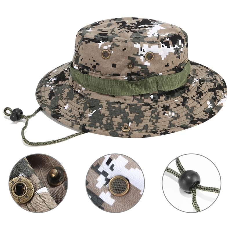 Fishing Caps Military Fisherman Cap Adjustable Sun Hats Cap Camouflage Bucket Hat With String Outdoor Summer