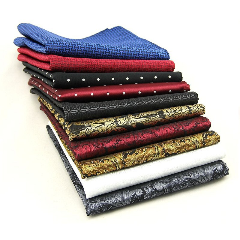 Men's Strips Handkerchief Polyester Pocket Towels Wedding Business Suit Pocket Square Hanky Hankie For Men 2pcs/lot