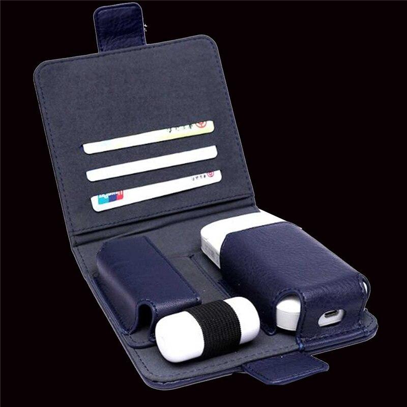 YUNKANG Anti protectora completa estuche caja tarjeta de almacenamiento titular bolsa PU Funda de cuero para iQOS e-cigarrillo cigarrillo