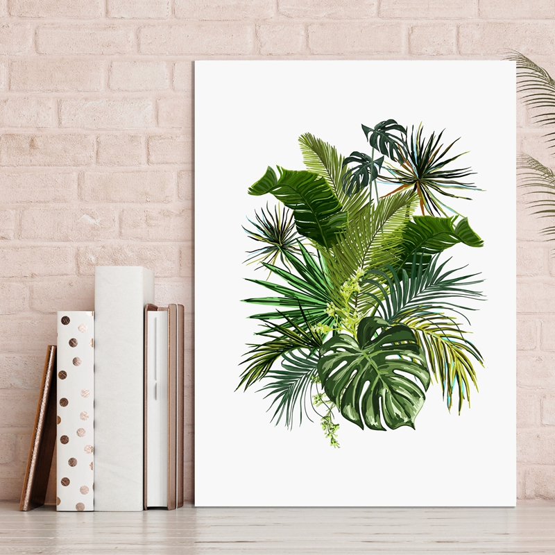 Vintage Tropical Plants Frunze Poster Canvas Art Print, Botanical Classic Canvas Art Pictura Wall Picture Home Decorare