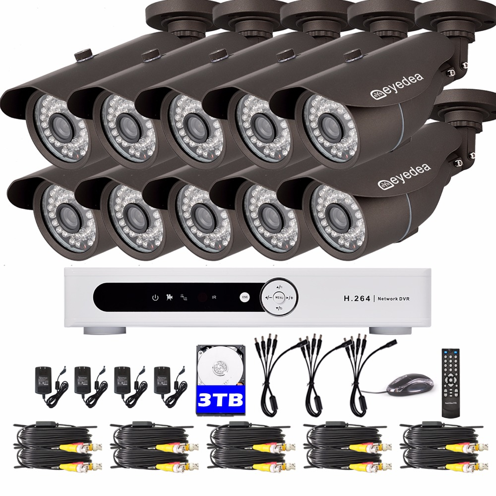 Eyedea 16CH DVR Video Motion Detect Recorder 2.0MP Bullet Outdoor CMOS Night Vision CCTV Security Camera Surveillance System 3TB top quality 800tvl ir night vision waterproof cctv camera with16 channel motion detect camera recorder dvr support h 264 ptz