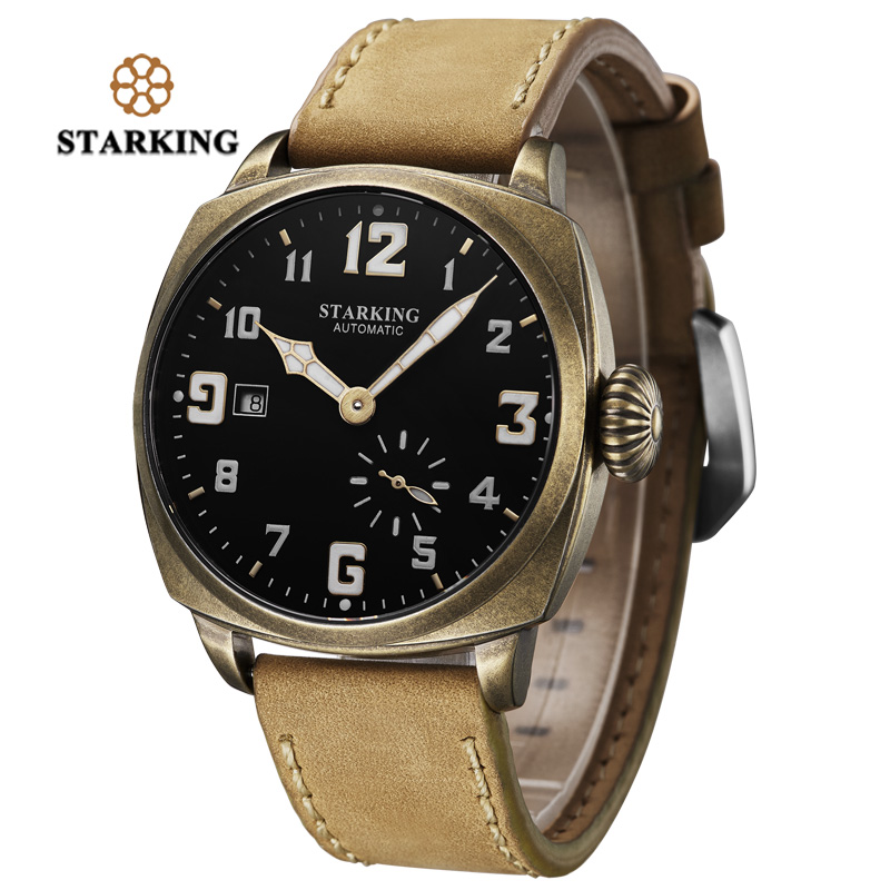 STARKING Luxury Brand Antique Design Automatic Mechanical Watch Stainless Steel Self Winding Mens Wristwatch Retro Male Clock все цены