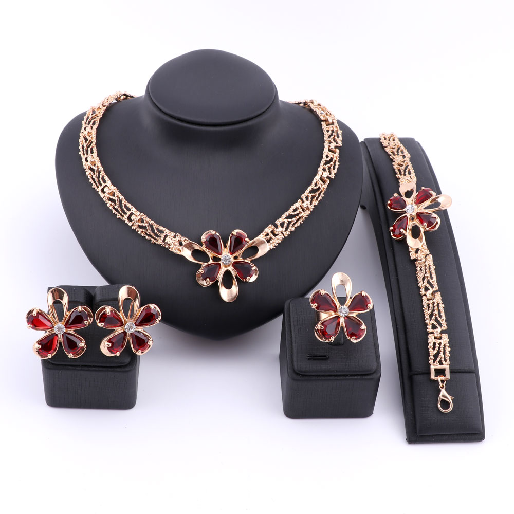 Women Bridal Wedding Necklaces Zircon Crystal Pendants Statement Chains Jewelry Sets Fashion Chokers Party Dress Accessories