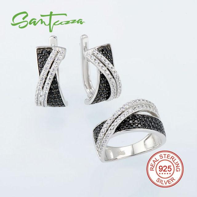 Conjuntos de jóias Para As Mulheres de Pedra Natur Preto Spinel CZ Diamante Set Jóias Anel Brincos Set 925 Conjunto de Jóias de Prata Esterlina