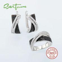 Sistemas de la joyería Para Las Mujeres Natur Piedra Negro Espinela CZ Diamond Jewelry Set Anillo Pendientes Set 925 Joyería de Plata Esterlina Conjunto