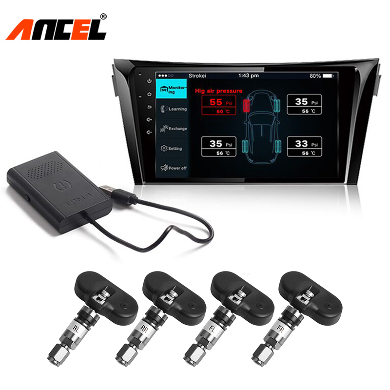Ancel TPMS Android DVD Car Tire Pressure Monitoring System 4 External/Internal Sensors Alarm Tire Temperature Monitoring System tp630 tpms car smart bluetooth tpms tire pressure psi bar temperature alarm system for android for ios 4 sensors