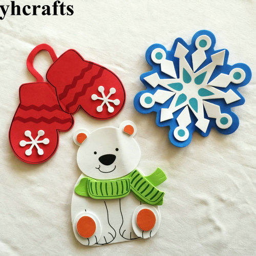 3PCS/LOT.DIY Snowman Snowflake Glove Fridge Magnet Craft Kits X'mas Toys Early Educational Toy Goody Bag Kindergarten Crafts OEM