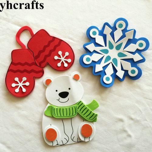 3PCS/LOT.DIY Snowman Snowflake Glove Fridge Magnet Craft Kits X'mas Toys Early Educational Toy Goody Bag Kindergarten Crafts OEM