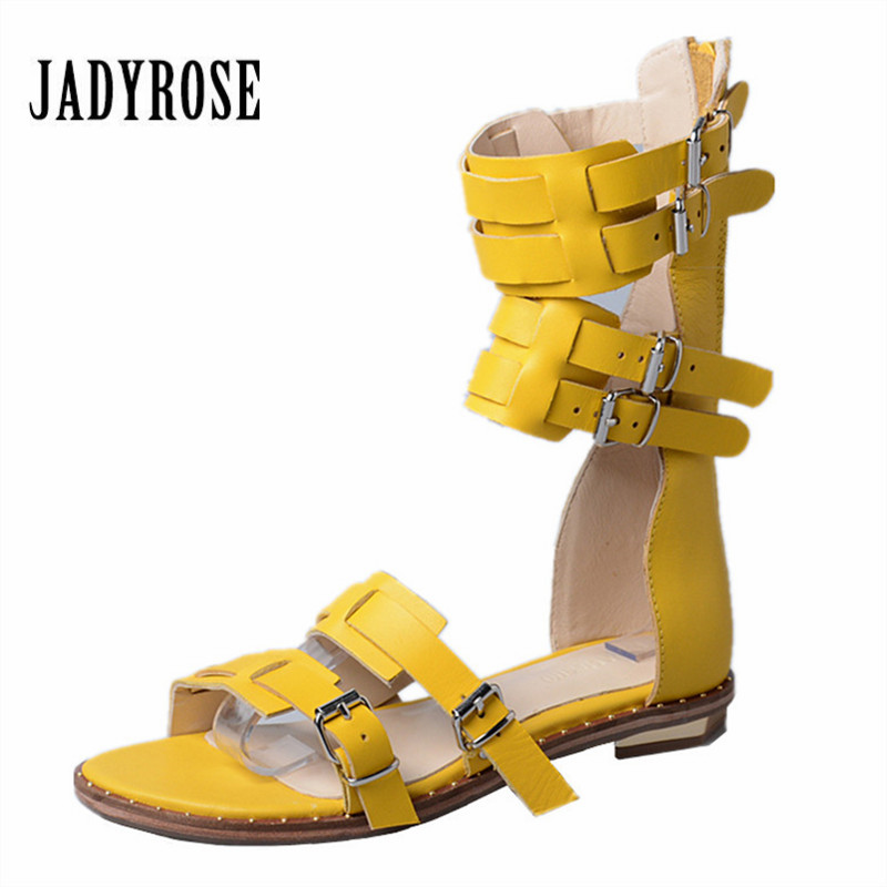 Jady Rose Vintage Yellow Women Genuine Leather Gladiator Sandals Straps Flat Shoes Woman Summer Boots Casual Beach Flats instantarts women flats emoji face smile pattern summer air mesh beach flat shoes for youth girls mujer casual light sneakers