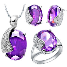 NEW white gold set of purple crystal 925 Sterling Silver suit made in Europe and the United States high-end jewelry