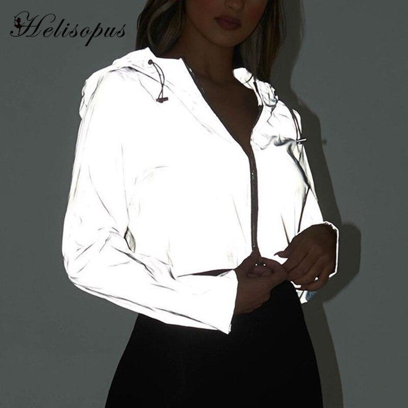 Helisopus Fluorescent Hoodies Jacket Casual Cropped Top Zipper Flash Reflective Pullover Feminino Long Sleeve Hooded Sweatshirt