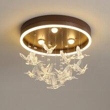 Modern LED tavan ışıkları İskandinav demir fikstür yenilik akrilik kuş aydınlatma çocuklar için yatak odası yemek odası tavan lambaları