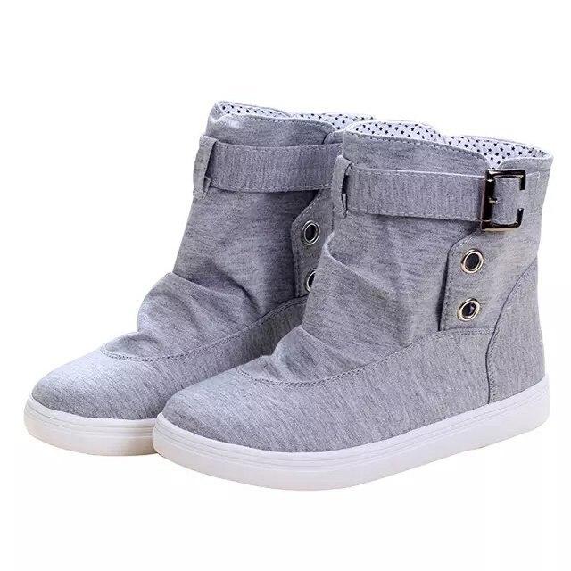Venta caliente de Las Mujeres Botas de Nieve de Invierno keep Warm Botines Pisos Con Hebilla Con Cordones Martin Botas de Lona de La Manera Zapatos al aire libre