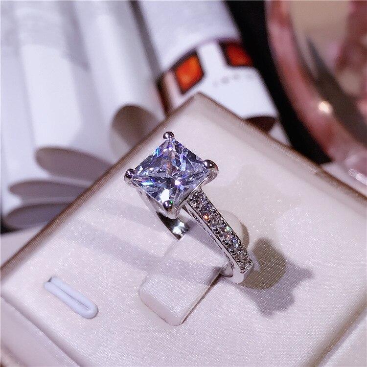 XI FAN juste fiançailles anneaux de mariage cubique zircone argent CZ pierre 925 bijoux en argent sterling pour les femmes anel gros XF105