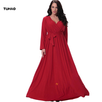 TUHAO Red Elegant Belted Maxi Long Dress Slim A Line Dresses 5XL 6XL Woman V Neck