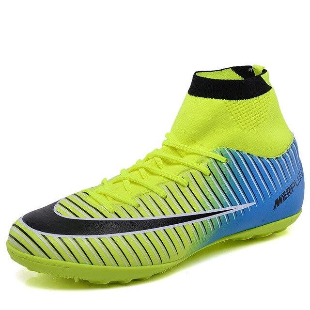 Zapatos de fútbol de césped hombres niños CR7 TF Cleats fútbol futsal botas  tobillo niños superfly df548664f41c0