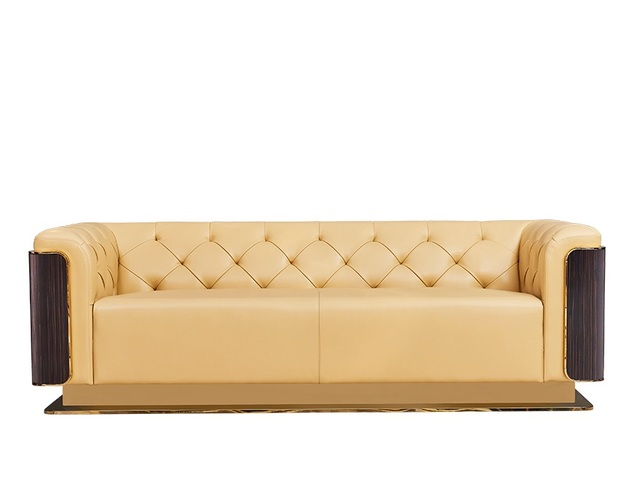 Fancy Sofa With Leather Upholstery And Wood Back Decor
