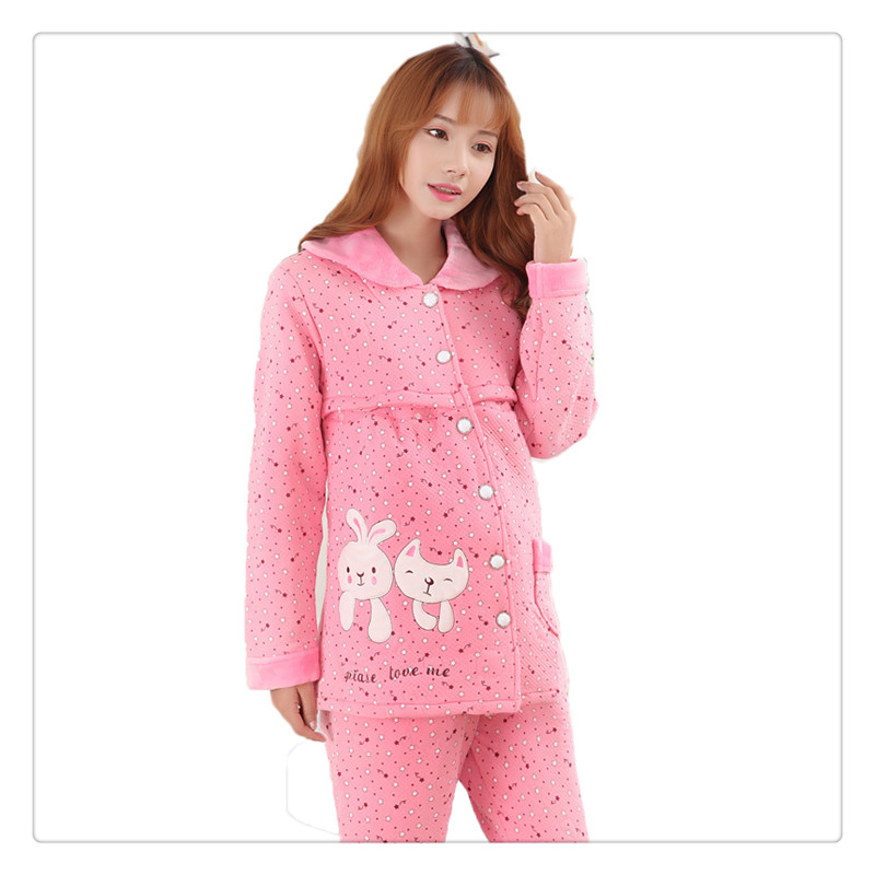 ФОТО maternity winter women pajamas cartoon pattern maternity nursing nightgowns maternal coral fleece flannel leisurewear suit