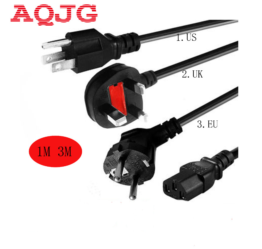 High quality 3 Prong US EU UK Plug AC Power Cord Cable Charge Adapter PC Laptop For PC Desktop Monitor Computer Cable  AQJG