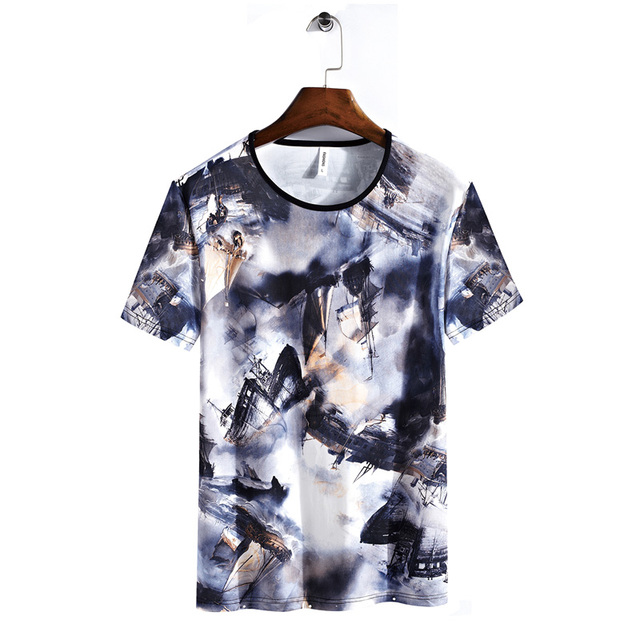 aa1b251885 US $39.98 |130kg Can Wear Men Beach T Shirt 2018 New 3D Full Printing Tops  Big Size 7XL 8XL Hip hop Style Holiday Mens Surfing Beach Tshirt-in Surfing  ...